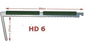 HD6-   Heavy Duty - aluminium stair nosing in mill finish 5mm gauge drilled  - ideal for medium to heavy traffic areas
